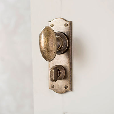 Downley Door Knob with Nowton Privacy Backplate