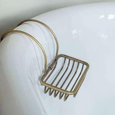 Bletchley Roll Top Soap Basket in Lacquered Antiqued Brass