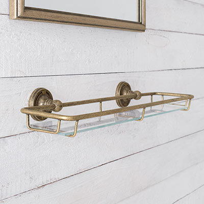 Bletchley Shelf in Laquered Antiqued Brass