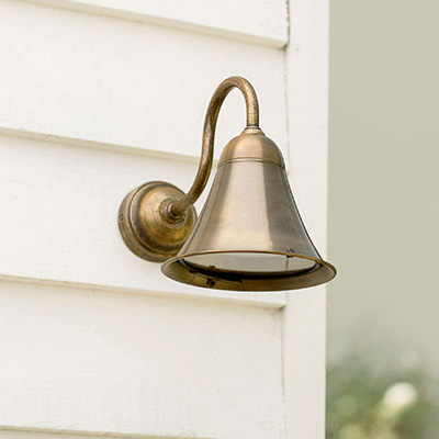 Boathouse Outside Wall Light in Antiqued Brass