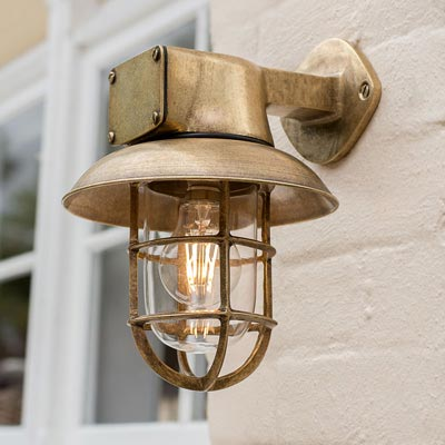 Britannia Ship's Light in Antiqued Brass