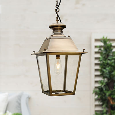 Standard Canterbury Lantern in Antiqued Brass