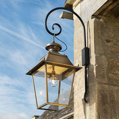 Large Canterbury Lantern in Antiqued Brass