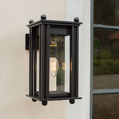 Wall Mounted Carriage Outdoor Lantern in Matt Black