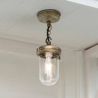 Salcombe Porch Light in Antiqued Brass