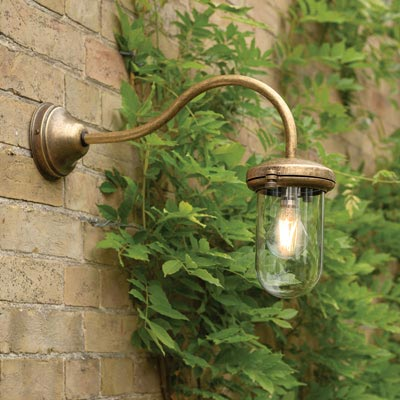 Stable Light with Wall Mounting in Antiqued Brass