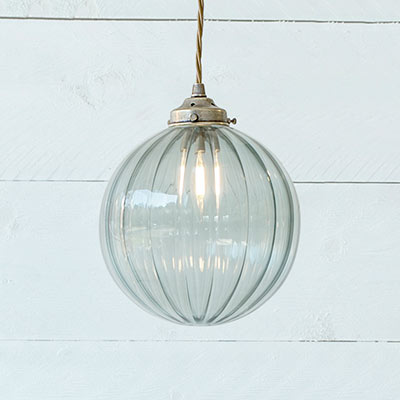 Fulbourn Greeny Blue Coloured Glass Pendant Light