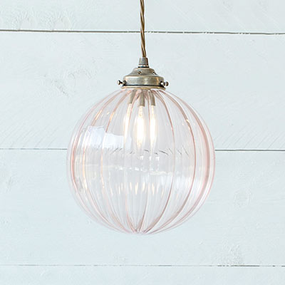 Fulbourn Dusky Pink Coloured Glass Pendant Light