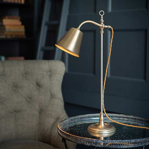 Abercrombie Adjustable Table Lamp in Antiqued Brass