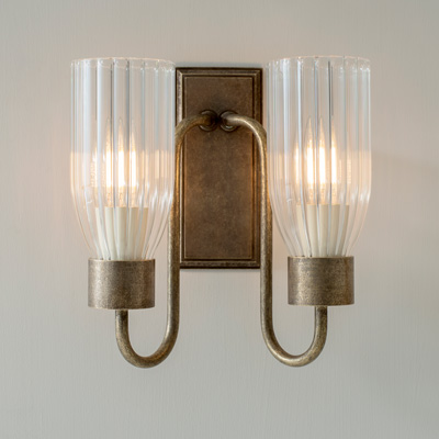 Double Morston Wall Light with Fluted Glass