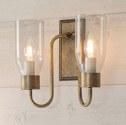 Double Morston Wall Light with Clear Glass