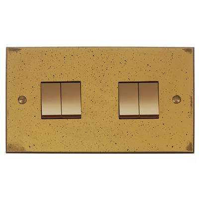 4 Gang Brass Rocker Switch with Antiqued Brass Bevelled Plate