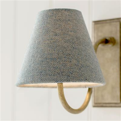 Bathroom Candle Shade in Blue Herringbone Lovat Tweed