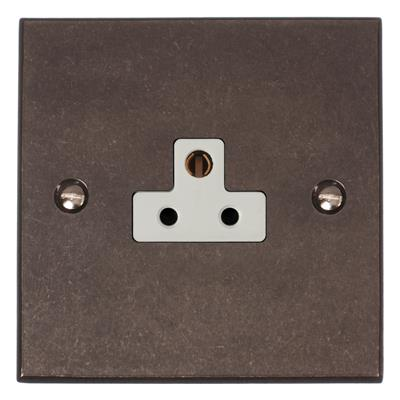 2amp Round Pin Socket with White Insert Bevelled
