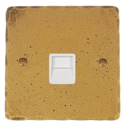 Secondary Telephone Socket White Insert Hammered