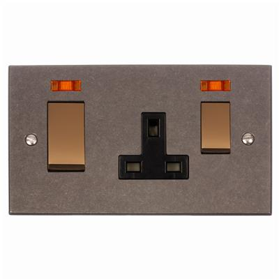 45amp Cooker Socket Brass/Black Inserts Bevelled