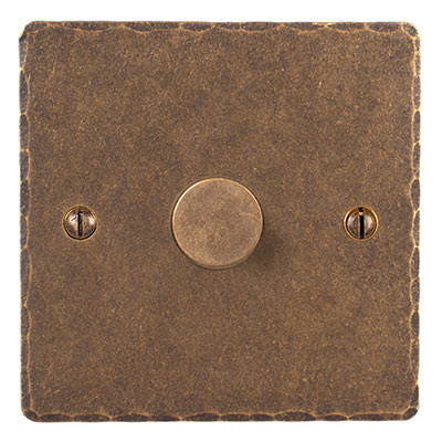 1 Gang Rotary Dimmer Hammered Plate