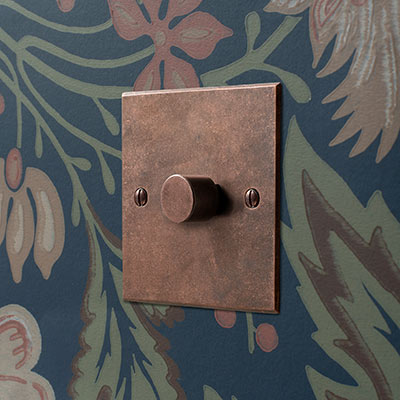1 Gang Rotary Dimmer in Heritage Copper