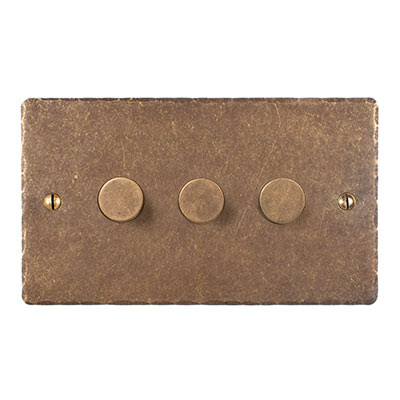 3 Gang Rotary Dimmer Hammered Plate
