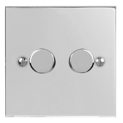 2 Gang Rotary Dimmer Switch Bevelled Plate