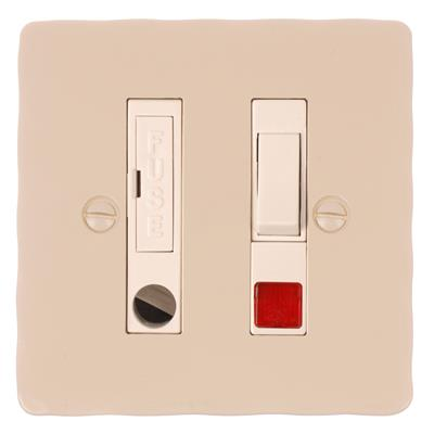 Fused Switch, Cable Outlet + Neon - White Inserts & Plain Ivory Hammered Plate