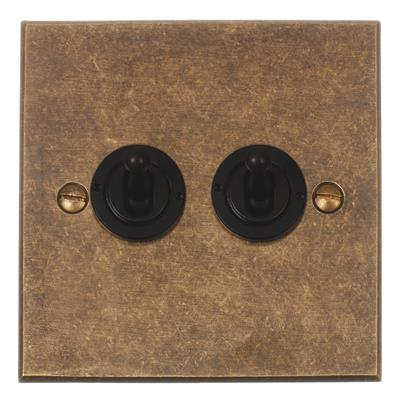 2 Gang Black Dolly Switch Bevelled Plate