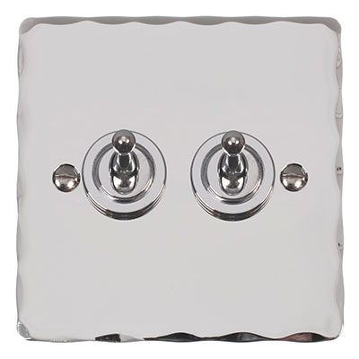 2 Gang Chrome Dolly Switch with Nickel Hammered Plate