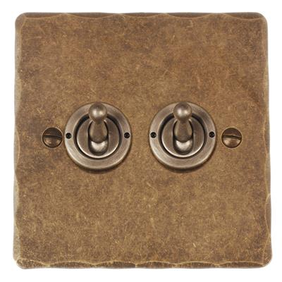 2 Gang Steel Dolly Switch Hammered Plate