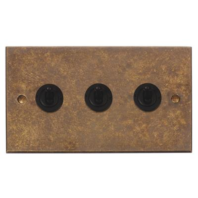 3 Gang Black Dolly Switch Bevelled Plate