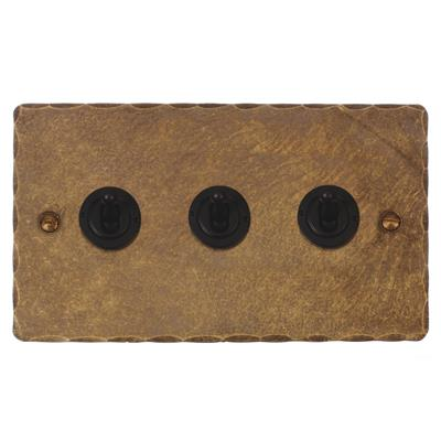 3 Gang Black Dolly Switch Hammered Plate