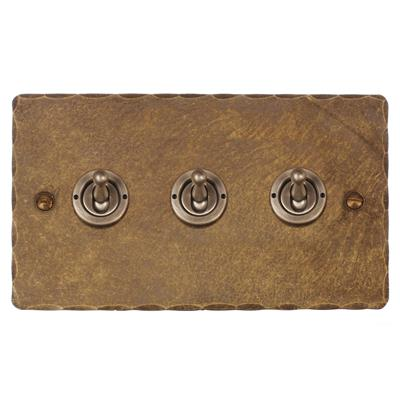 3 Gang Steel Dolly Switch Hammered Plate