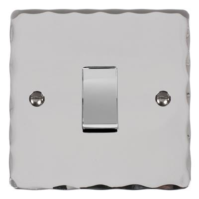 1 Gang Chrome Rocker Switch with Nickel Hammered Plate