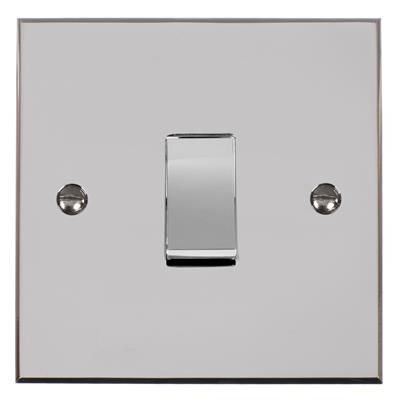 1 Gang Chrome Rocker Switch with Nickel Bevelled Plate
