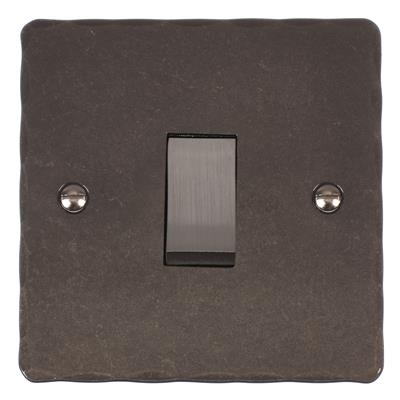 1 Gang Steel Rocker Switch Hammered Plate