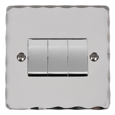 3 Gang Chrome Rocker Switch with Nickel Hammered Plate