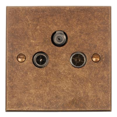 3 Way Satellite Socket Bevelled  (Sat/TV/Radio)