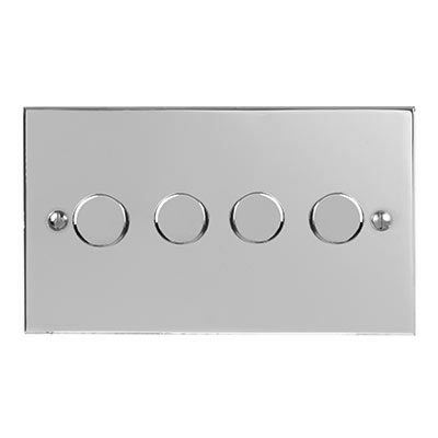 4 Gang Rotary Dimmer Bevelled Plate