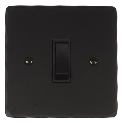 Double Pole Isolator No Neon Black Switch Hammered