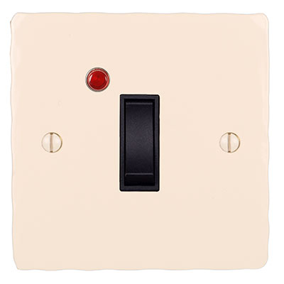 Double Pole Isolator Neon Black Switch Hammered