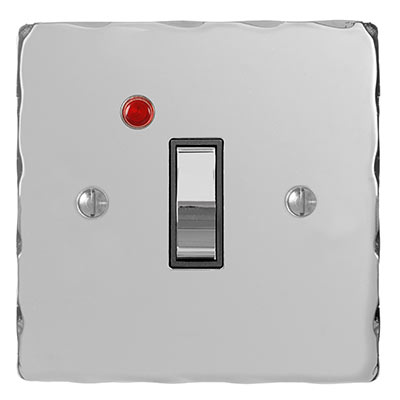 Double Pole Isolator Neon Chrome Switch Hammered