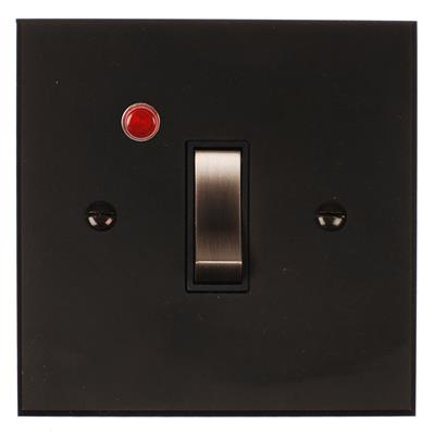Double Pole Isolator Neon Steel Switch Bevelled