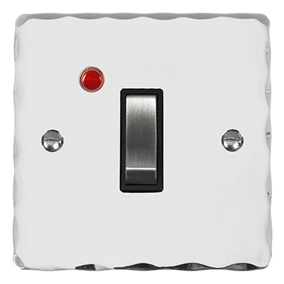 Double Pole Isolator Neon Steel Switch Hammered