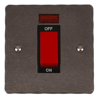 Black 45amp Cooker Switch Hammered Plate