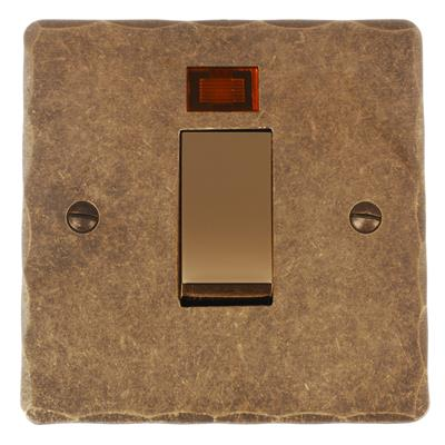 Brass 45amp Cooker Switch Hammered Plate