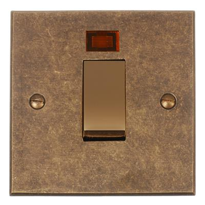 Brass 45amp Cooker Switch Bevelled Plate