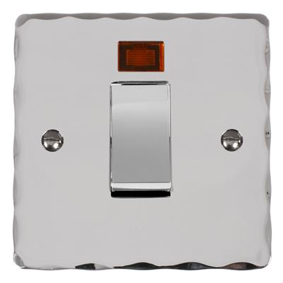 45amp Cooker Switch in Chrome with Nickel Hammered Plate
