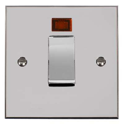 45amp Cooker Switch in Chrome with Nickel Bevelled Plate