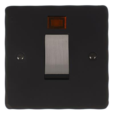 Steel 45amp Cooker Switch Hammered Plate