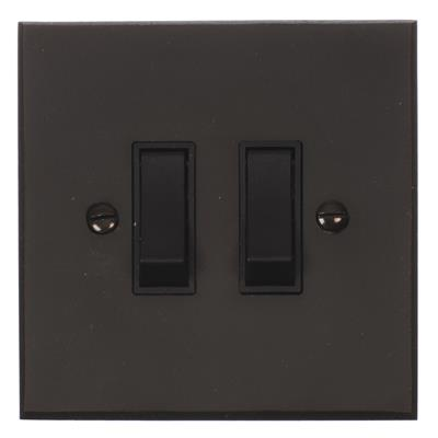2 Gang Black Modular Grid Switch Bevelled Plate