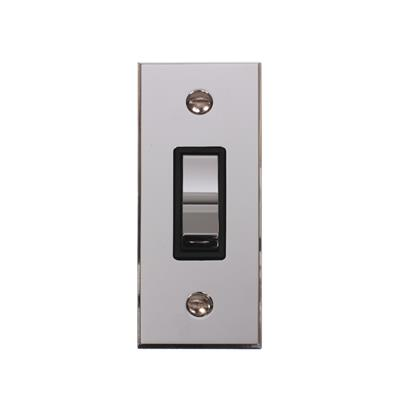 1 Gang Chrome Modular Grid Switch with Nickel Bevelled Architrave Plate